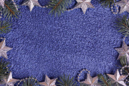 Christmas background in silver and blue colors photo