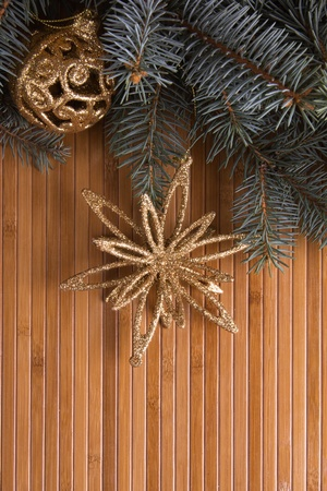 Christmas accessories  on the wooden board photo