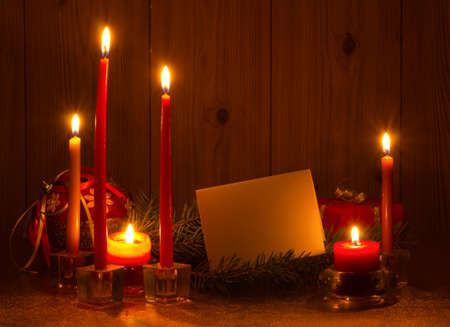 with candles and pine tree branches Stock Photo - 15862356