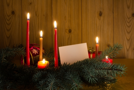 with candles and pine tree branches Stock Photo - 15862362