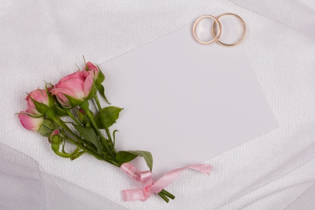 Beautiful rose and card for your text on a background white veil photo