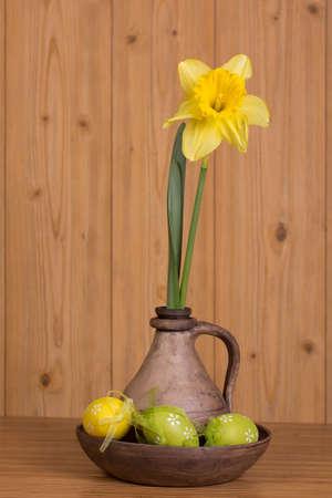 lent: Easter eggs and fresh spring flower Stock Photo