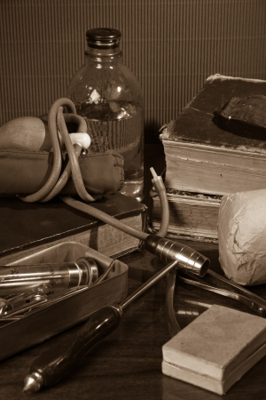 Vintage still life with medical items photo