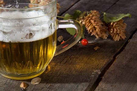 Mug of beer and branch of hop on an old wooden board photo