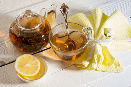 Green tea with jasmine and chrysanthemum in a teapot