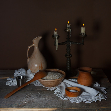 countrified: Still life with rice in a rustic styl Stock Photo