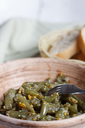 french bean: Cooced French bean with  fried onions, garlic and mustard