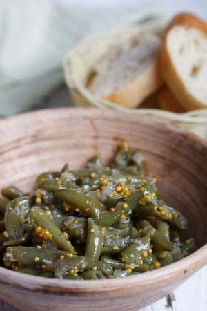 french bean: Cooked French bean with  fried onions, garlic and mustard