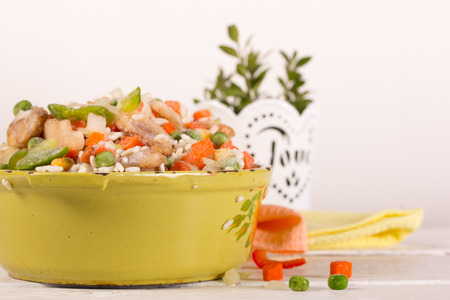 freezed: Frozen vegetables in an old enamel saucepan  before cooking