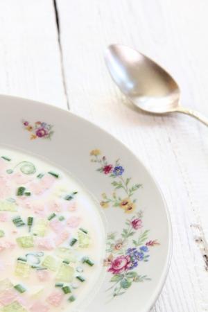 cold soup: Okroshka  is a cold soup of Russian origin