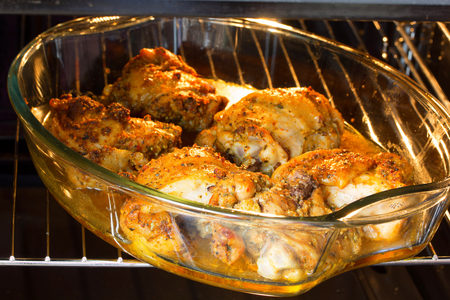 portions: portions of chicken, baked in the oven