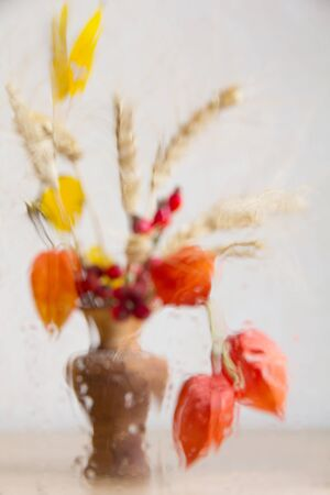 faded: Autumn concept with faded bouquet of wet glass