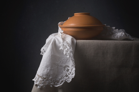 tableware life: Vintage still life with lacy napkin and ceramic tableware
