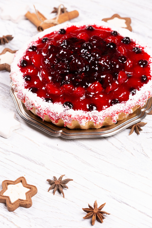 Sweet cake with cherry jelly, tasty and fresh