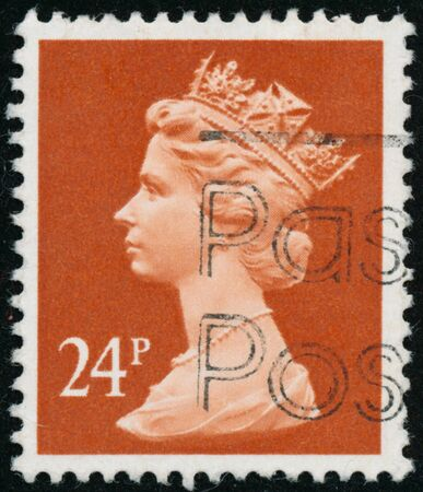 POLTAVA, UKRAINE - JUNE 26, 2019. Vintage stamp printed in Great Britain 1991 shows Queen Elizabeth II