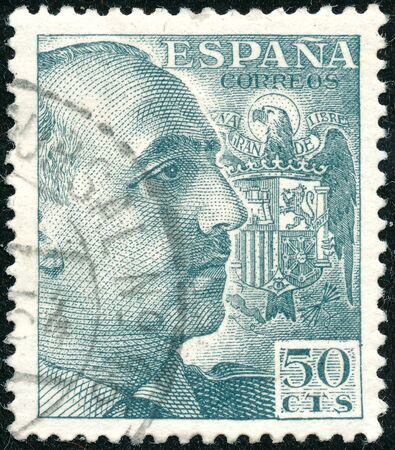POLTAVA, UKRAINE - SEPTEMBER 23, 2019. Vintage stamp printed in in Spain 1939 shows General Franco
