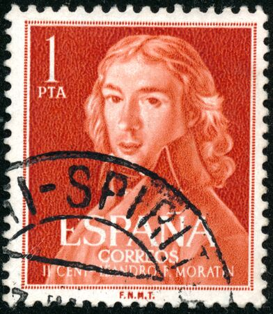 POLTAVA, UKRAINE - SEPTEMBER 25, 2019. Vintage stamp printed in in Spain 1961 shows the 200th Anniversary of the Birth of Leandro Frenandez de Moratin Editoriali