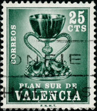 POLTAVA, UKRAINE - SEPTEMBER 25, 2019. Vintage stamp printed in Spain 1968 shows Holy Grail