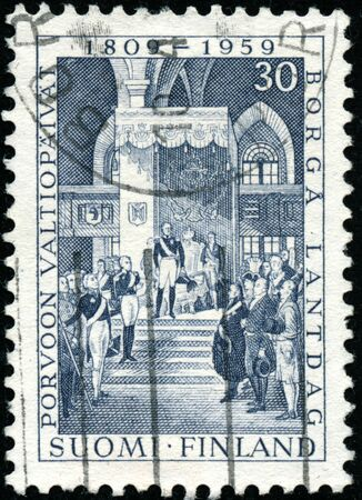 POLTAVA, UKRAINE - January 9, 2020. Vintage stamp printed in Finland circa 1959 show 150th anniversary of the inauguration of the diet at Porvoo