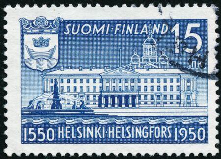 POLTAVA, UKRAINE - January 9, 2020. Vintage stamp printed in Finland circa 1950 show landscape
