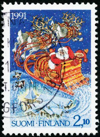 POLTAVA, UKRAINE - January 20, 2020. Vintage stamp printed in Finland circa 1991 show Christmas