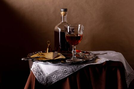 Still Life with Wine and Cheese in vintage style