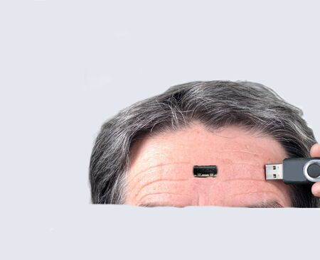 tranfer: Man with usb connetion in head. Stock Photo