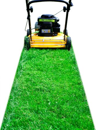Lawn mower trail isolated photo