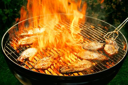 broil: Burning barbecue Stock Photo