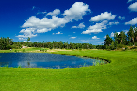 golfcourse: A fairway round a pond Stock Photo