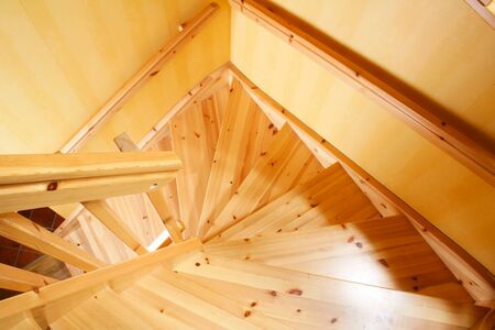 stair well: Wooden staircase in a Swedish villa house