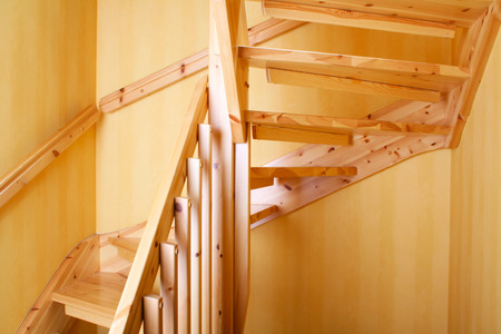 Wooden staircase in a Swedish villa house photo