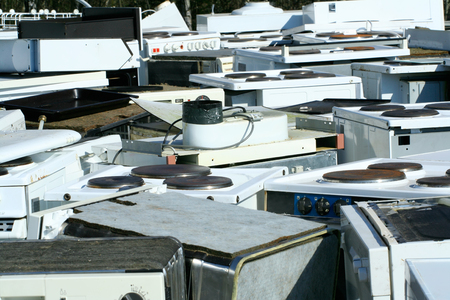 discarded metal: Recycled household appliances