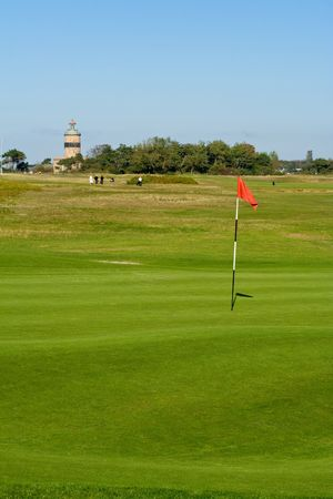 Seaside golf landscape at Falsterbo, Sweden in October.  photo