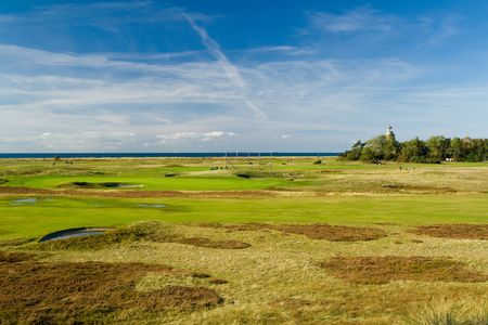 Seaside golf landscape at Falsterbo, Sweden. Lovely October day photo