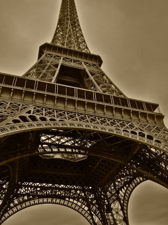 nuances: Wide angle of Eiffel tower in Paris. HDR-processed image with excellent resolution of tone nuances.