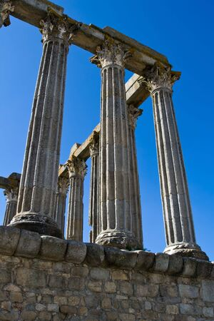 1st century: Ancient 1st century Roman temple of Diana in Evora, Portugal Stock Photo