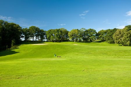 golfcourse: Open golf landscape in Molle, Sweden Stock Photo