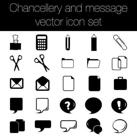 chancellery: Chancellery and message icon set.