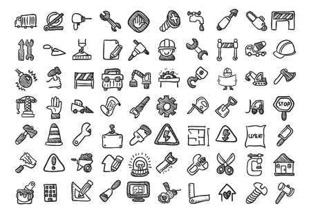 construction equipment: Construction cartoon icon set.