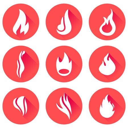 fuoco e fiamme: Fire flames icon set.
