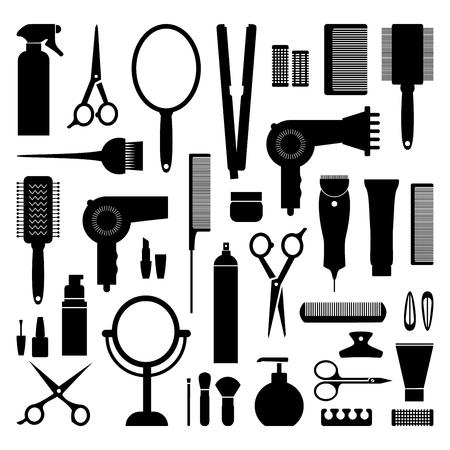 secador de pelo: set de peluquería icono del equipo. Ilustración del vector