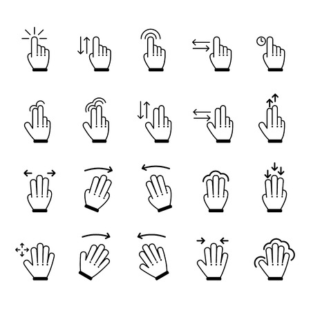 double click: Hand Gestures icon set. Vector Illustration