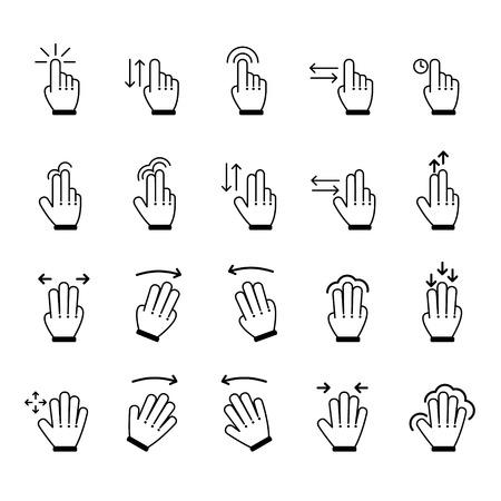gestures: Hand Gestures icon set. Vector Illustration
