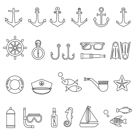 the hovercraft: Marine icon set. Vector Illustration