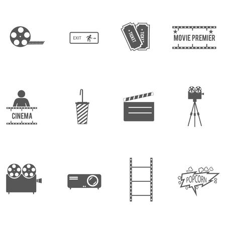 strip show: Movie cinema icons set. Vector