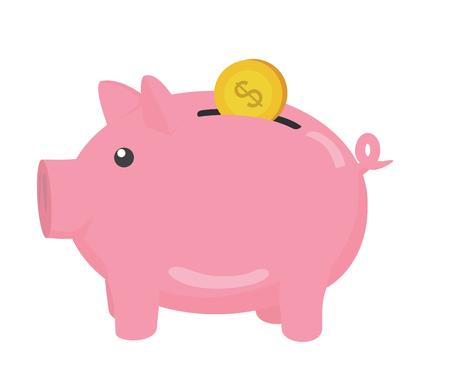 time account: Piggy bank. Vector Illustration.
