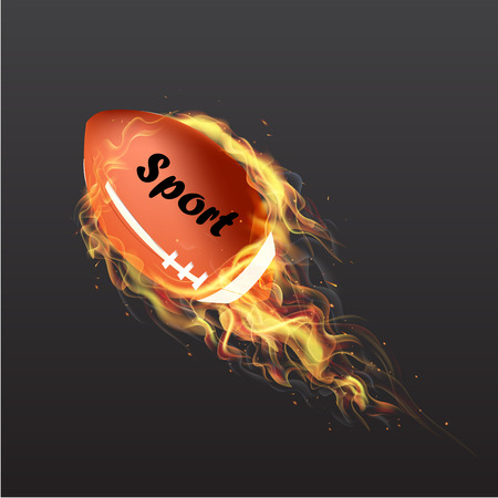red flag up: Realistic American Football Ball on fire. Vector illustration, EPS 10 Illustration