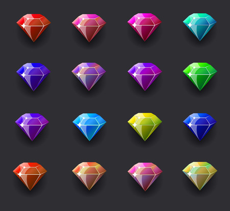 ruby stone: Colored diamond shiny. Vector illustration, EPS 10