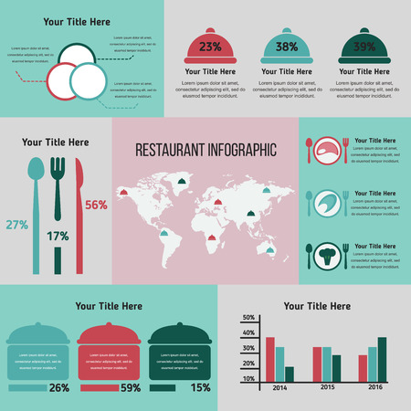 restaraunt: Restaurant with infographic elements. Vector illustration, EPS 10